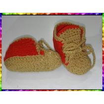 Escarpines Botitas Para Bebes En Rojo Y Marron Clarito