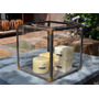 Fanal Porta Velas De Hierro C/vidrio 35x35x35 Cms