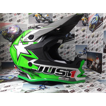 Casco Motocross Just 1 One Star Green - City Motor