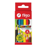 Lápices De Colores Cortos Filgo Caja X6 Colores