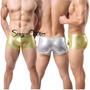Boxer Corto Sexy Metalizados Lycra Engomados Tipo Cuero!