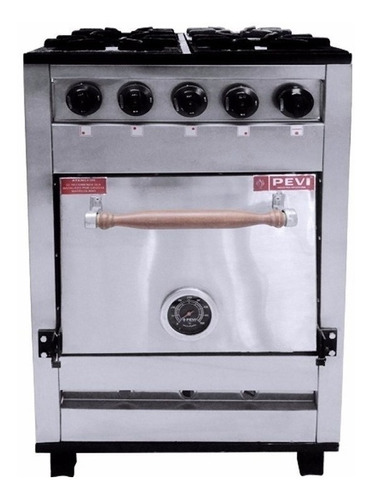Cocina Industrial Pevi 4h 55cm 4 Multigas Acero Inoxidable Puerta Ciega