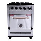 Cocina Industrial Pevi 4h 55cm 4 Hornallas  Multigas Acero Inoxidable 220v Puerta Ciega