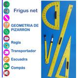 Set Regla Escuadra Transportador Compás Pizarron Frigusnet