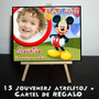 Mickey 15 Souvenir Mini Atril Personalizados + Cartel Regalo