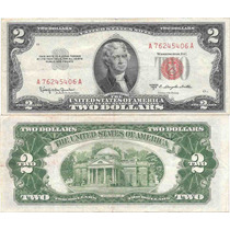 Billete Estados Unidos 2 Dolares Año 1953 Sello Rojo