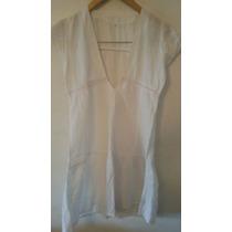 Vestido De Broderie Blanco Corte Moderno Talle S Como Nuevo!
