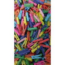 Broches De Madera X 50 U. Multicolor 3,5cm