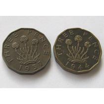 2 Monedas 3 Pence 1937 1944 Gran Bretaña !