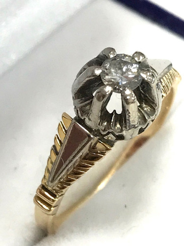 3626c1e6dbc8 Antiguo Anillo Solitario De Oro 18 Kilates Con Brillante