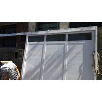 Porton Corredizo, Aluminio Blanco 1/4 De Vidrio, 240x200 Mts