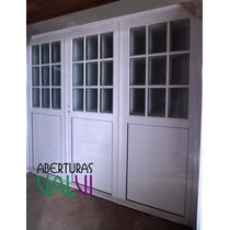 Portón Aluminio 240x200 Mitad Vidrio Repartido