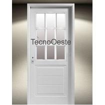 Puerta Inyectada Nexo Tablero Machimbrado 1/2 Vidrio Abrir