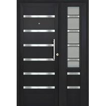 Puerta Y Media Residencial Vidriada Negra Premium 120x200
