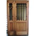 Puerta Y Media Abrir Madera Exterior 1/2 Reja Colonial 127cm