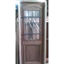 Puerta De 90x200 Tipo Antigua C/reja Y Vidrio Extra Porch