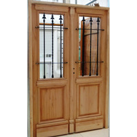 Portón Puerta Doble Madera Exterior 1/2 Reja Colonial 135 Cm