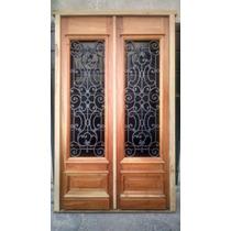 Puerta Estilo Colonial Antiguo Cedro Macizo 1.60x2.60 C/reja