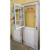Puerta Aluminio Blanco Postigo De Abrir Vidrio Cerradura Pa1
