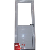 Aberturas Puerta Aluminio Bco Medio Vidrio Entero 80x2 Agma