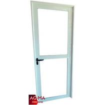 Aberturas Puerta Aluminio Vidrio Entero C/ Parante 80x2 Agma