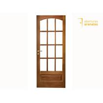 Puerta Madera Cedro 0,8 X 2 Vidrio Repartido Calidad Premium