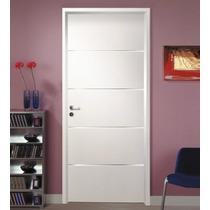 Puerta Interior Mdf C/ Insertos Aluminio Marco Madera