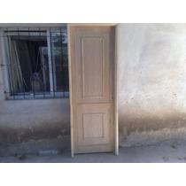 Puerta En Madera Maciza Con Tablero Enchapado 9mm C/moldura