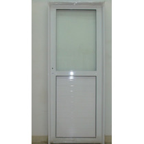 Puerta Aluminio Blanco 1/2 Vidrio Entero 90x200 C/cerradura