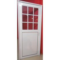 Puerta Aluminio Blanco 1/2 Vidrio Repartido 80x200 Cerradura