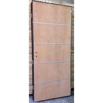 Puerta Placa Cedro Apliques Aluminio 70-10 Marco Ch18 Pesado