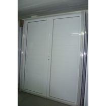 Porton Puerta Doble Aluminio Blanco Ciega 160x200 Cerradura