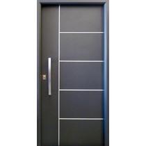 Puerta Nexo Deluxe Style 5 Tableros Gris Cilindro Europerfil