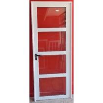 Puerta Aluminio Blanco Vidrio Repartido Horizontal 80x200 Cm