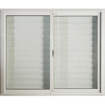 Ventana Aluminio Blanco 150x110 C/vidrios Y Postigo Celosía