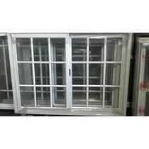 Ventana Aluminio Blanco Vidrio Repartido 100x90