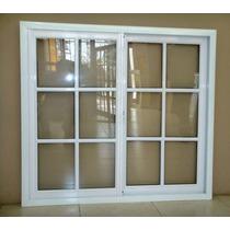 Ventana Aluminio Blanco Repartido 100x90 C/vidrios Corrediza