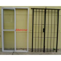 Ventana, Balcón, Aluminio, 1.50x2.00, Con Vidrio Y Reja