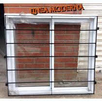 Ventana De Alumino Blanco 100x90 Con Vidrio Y Reja Moderna