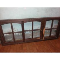 Ventana De 3 Hojas Con Vidrio Repartido De Quebracho Unica
