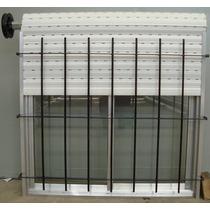 Ventana De Aluminio Natural Con Reja Vidrios Cortina 100x090