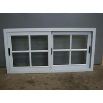 Ventana Aluminio Blanco Vidrio Repartido 120x60 Con Vidrio