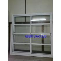 Ventana Aluminio Blanco 200x150 Vidrio Repartido Horizontal