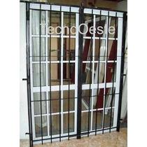 Puerta Ventana Aluminio 200x200 Repartido C/reja Cerradura