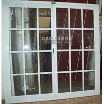 Ventana De Aluminio Blanco Vidrio Repartido 200 X 150
