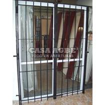 Ventana 150x200 Aluminio Blanco Vidrio Entero Y Puerta Reja