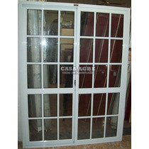Ventana Balcon De Aluminio Blanco Vidrio Repartido 150 X 200