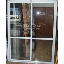 Ventana Balcon De Aluminio Blanco Vidrio Entero 150 X 200