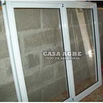 Ventana Aluminio Blanco Vidrio Entero 150 X 120, Con Vidrio.