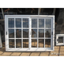 Ventana Aluminio Blanco - Vidrio Repartido - 100x80